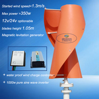 VAWT 300w 12v Vertical Wind Turbine Generator With Wind Controller And Inverter For 1000w Pure Sine