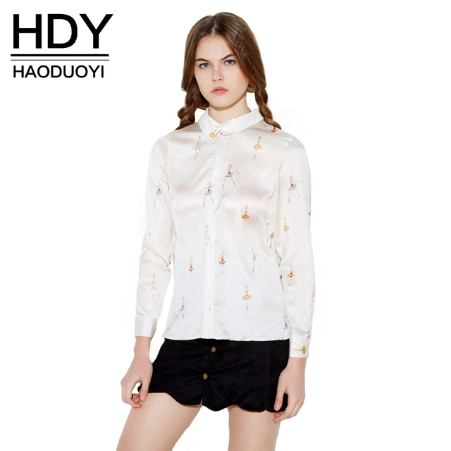 HDY Haoduoyi Spring Ballet girls print blouse long sleeve tie back women shirts for wholesale and free shipping