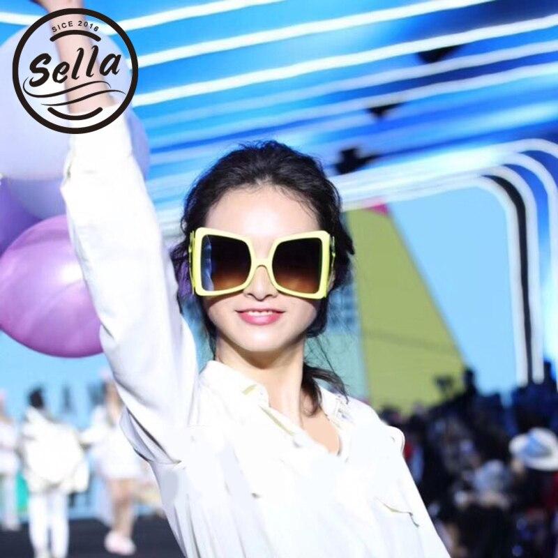 Sella nuevo estilo europeo sobredimensionado cuadrado gafas de sol de las mujeres de las señoras de moda exagerado rayo decoración gafas de sol UV400