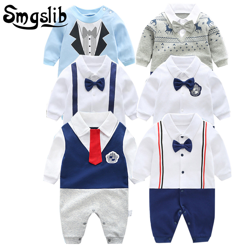 0-12M New born baby clothes Handsome Gentleman Clothing Set Infant Bow Tie Costume Cotton Baby Jumpsuit Baby Boy girl Clothes surplice neckline self tie cami jumpsuit
