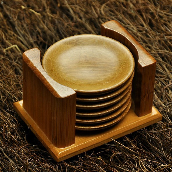 Freeshipping Natural Bamboo Table Mat Coasters Care Cup Table Mat Set Round Cup  Holder