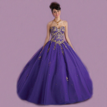 Vnaix Q2005 Luxury Sweetheart Off The Shoulder Purple Party Gown Long Lace Crystal Quinceanera Dresses Ball 2015