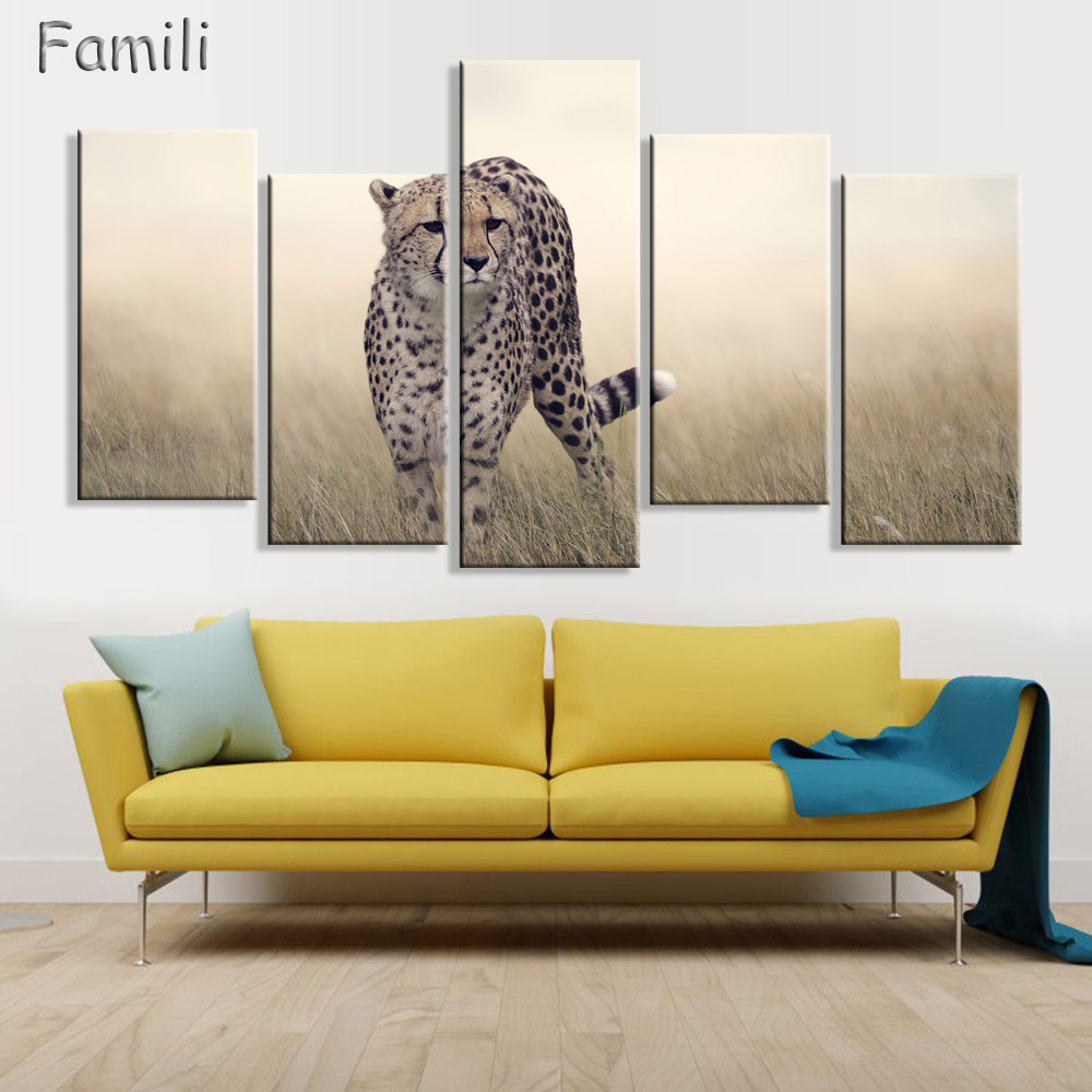 5 Panel Grassland Leopard Cheetah Wild Animals Modern Art