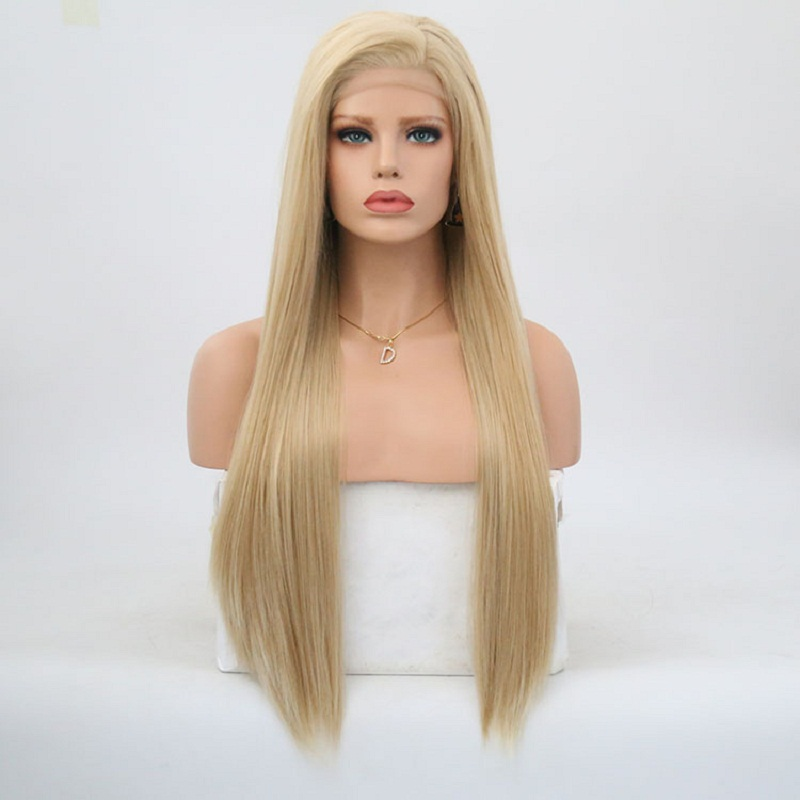 Charisma Blonde Synthetic Long Straight Hair Lace Front Wigs Glueless For Women Natural Hairline 150% Density