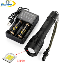 new 50000 Lumens XHP70.2 Super Bright Flashlight 5 Modes Waterproof LED zoom Tactical Torch for Camping Hunting Rescue Lights