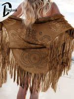 DayLook 2015 Summer New Fashion Design Cream Floral Cut Out Asymmetric Fringe Tasseled Kimono Swimming Cover