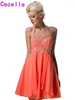 Real Coral New Short Juniors Homecoming Dresses Sparkle A line Halter Beading Chiffon Mini A line Summer Homecoming Gowns