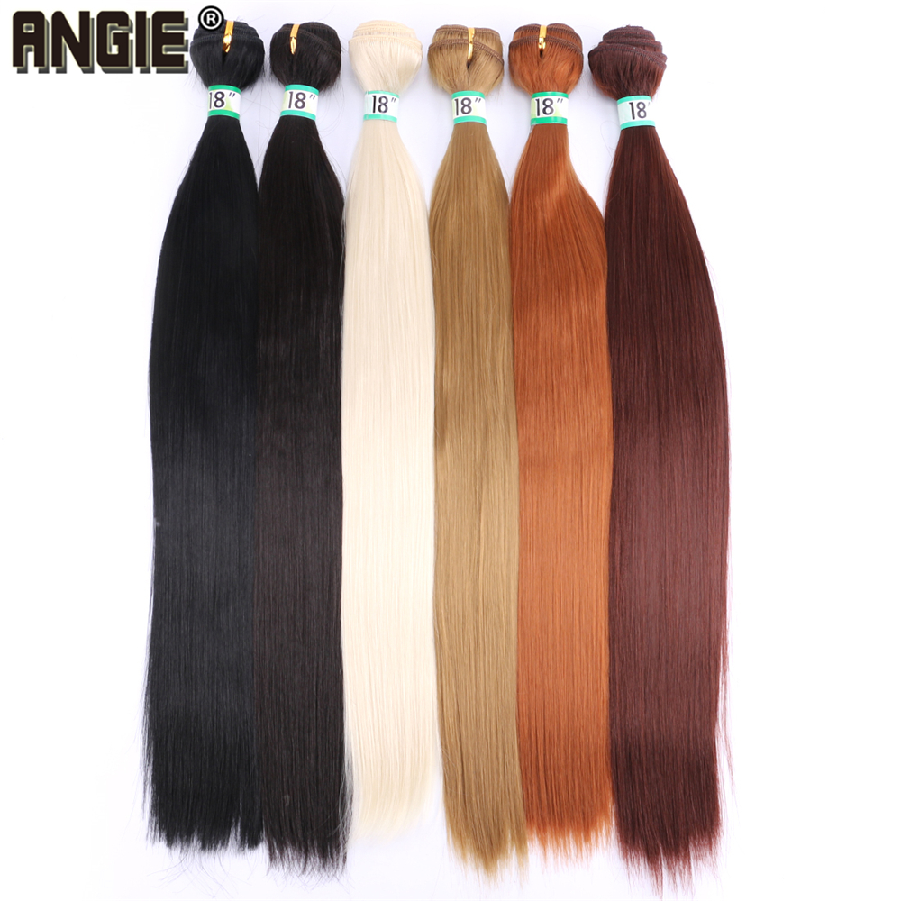 Angie Synthetic-Hair-Extensions Hair-Bundles Straight Womens for 14-30inch Silky Natural-Black title=