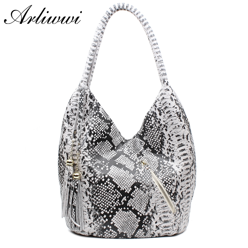 Arliwwi Brand Luxury Featured Medium Size Shiny Snake And Leopard Pattern 100 REAL LEATHER Shoulder Bags