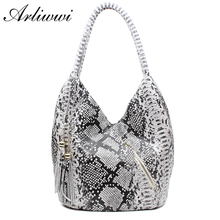Arliwwi Brand Luxury Featured Medium Size Shiny Snake And Leopard Pattern 100% REAL LEATHER Shoulder Bags For Women GY05