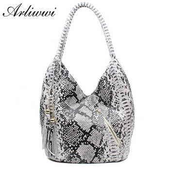 Arliwwi Brand Luxury Featured Medium Size Shiny Snake And Leopard Pattern 100% REAL LEATHER Shoulder Bags For Women B1431 - DISCOUNT ITEM  51% OFF All Category