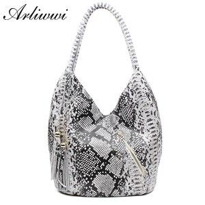 Image 1 - Arliwwi marka luksusowe polecane średniej wielkości błyszczące wąż i wzór lamparta 100% prawdziwe skórzane torby na ramię dla kobiet GY05