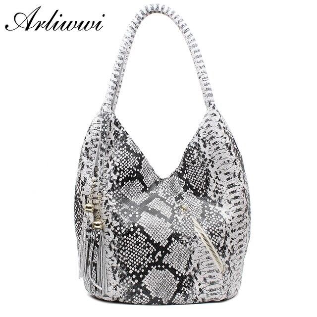 Arliwwi marka luksusowe polecane średniej wielkości błyszczące wąż i wzór lamparta 100% prawdziwe skórzane torby na ramię dla kobiet GY05