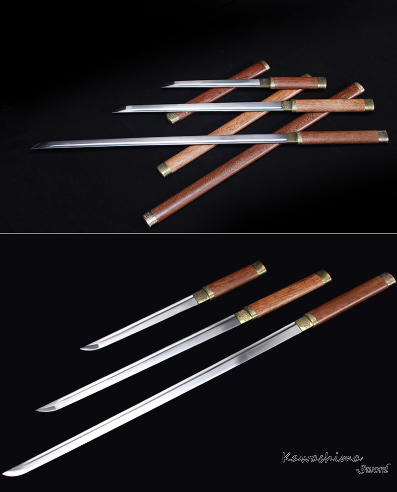Japanese Katana Real Sword Straight Blade 1045 Carbon Steel Rose Wooden Sheath Sharpness Ready-Tang Dao Style