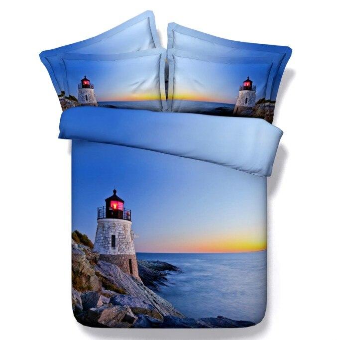 Coucher de soleil couette 3D ensembles de literie mer housse de couette lit dans un sac feuille couette doona Twin taille Super roi reine plein linge phare