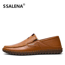 Men Leather Slip On Casual Shoes Italian Soft Breathable Moccasins Shoes Handmade Antiskid Driving Shoes Size 38-47 AA11635