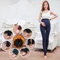 Calças Leggings de veludo Inverno Maternidade Roupas para Mulheres Grávidas Gravidez Quente Malha Cintura Alta Suspender Calças B147