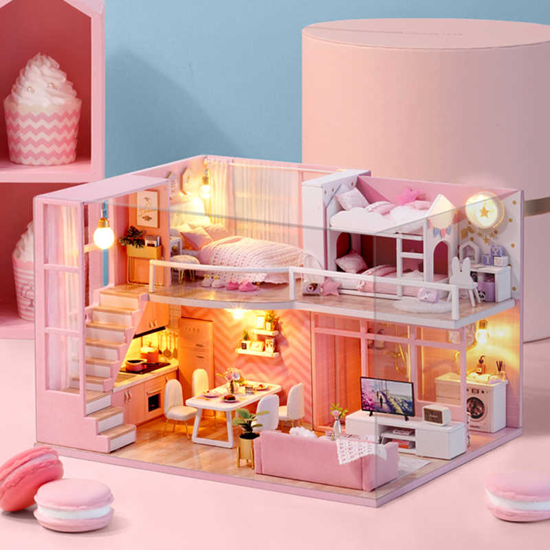 CUTE ROOM DIY miniature House Wooden Doll house Furniture Dust Cover Dollhouse Kit House Model Toys For Children Christmas Gift