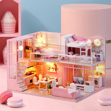 CUTE ROOM DIY miniature House Wooden Doll house Furniture Dust Cover Dollhouse Kit House Model Toys For Children Christmas Gift(China)