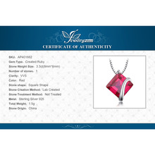 Classic Square 3.3ct Created Red Ruby Pendant Charm 925 Sterling Silver Brand Wedding Fine Jewelry Without a Chain