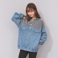 Hodisytian Fashion Women Jacket Denim Casual Loose Jaqueta Ladies Patchwork Hooded Coat Casaso Fenimino Korea Style Plus Size
