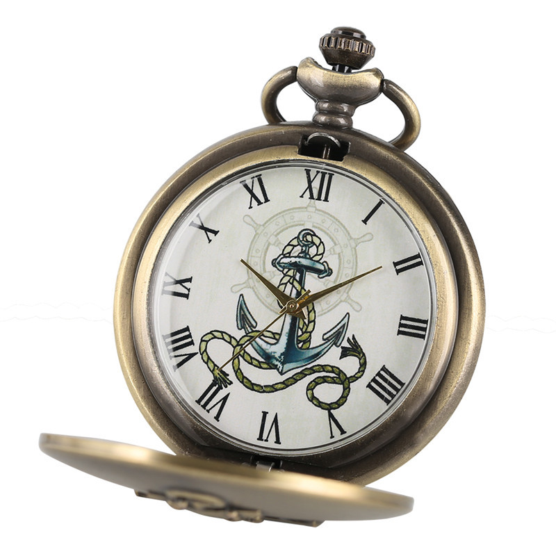 2017 Best Gifts for Sailor Seaman Skipper Captain Vintage Watches Ship Anchor Quarzt Pocket Watches Necklace Pendant with Chain