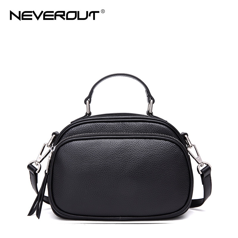 NEVEROUT Women High Quality Genuine Leather Bags Small Messenger Handbag Solid Shoulder Sac Summer Zipper Flap