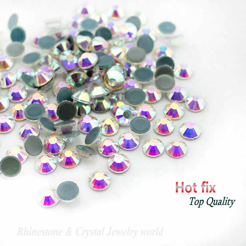 Qiao Hot Fix Steentjes Ijzer Op Steentjes Voor Kleding Hoge Kwaliteit SS10 SS12 SS16 SS20 SS30 Crystal Ab Hot Terug glas Steen