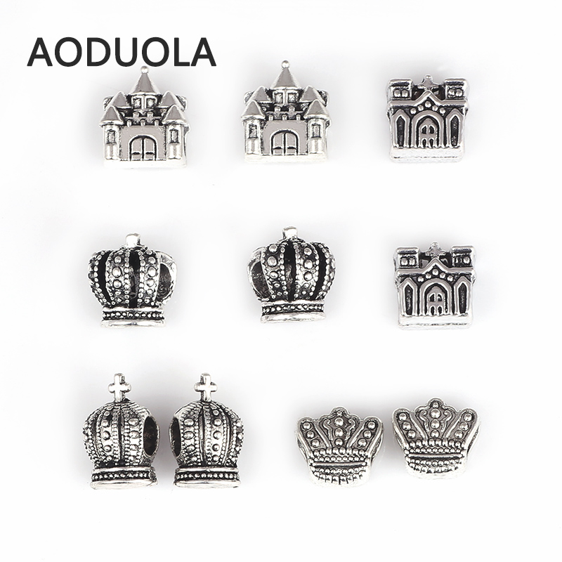10 Pcs Mix Happily Ever After Beads [ Crown & Imperial Palace ] Antique Silver Plated DIY Bead Fit For Pandora Charms Bracelet