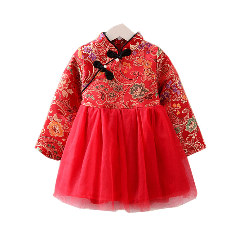 China Style Cheongsam Mesh Patchwork Dress Girl Dress High-End Exquisite Embroidery Flower red Dress For New Year Clothing flounce mesh insert embroidery dress