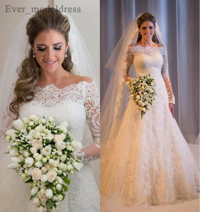Vestidos De Noiva suknie ślubne syrenka długie rękawy koronkowe aplikacje zroszony Sweep pociąg Plus rozmiar Off ramię suknia ślubna 2020Suknie ślubne   -
