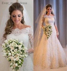 Image 1 - Vestidos De Noiva suknie ślubne syrenka długie rękawy koronkowe aplikacje zroszony Sweep pociąg Plus rozmiar Off ramię suknia ślubna 2020