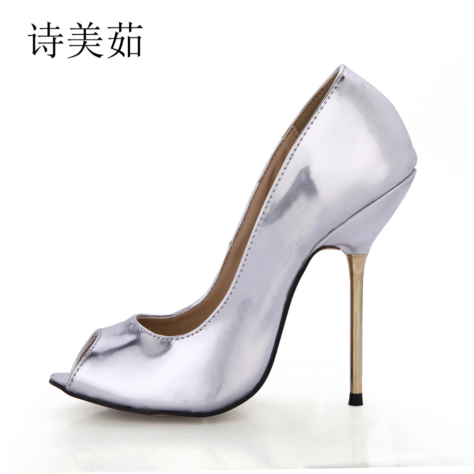2016 New Silver Sexy Party Shoes Women Peep Toe Stiletto High Iron Heels Vogue Ladies Pumps Plus Sizes 9.5 Zapatos Mujer 3845-a8 2016 real colorful women pumps custom made plus us4 us15 high heels peep toe slip on zapatos mujer patent leather ladies shoes