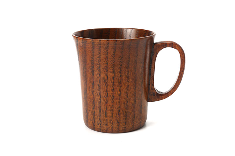 300ml Primitive Wooden Beer Mugs with Handle Natural Wood Mug Coffee Cup Tableware Kitchen Supply (4)