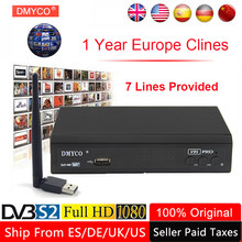 1 Year Europe C-line Server HD V9S Pro DVB-S2 lnb Satellite Receiver Full 1080P Italy Spain Arabic TV box With USB Wifi Receptor(China)