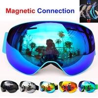 2017 High Quality Magnet Snowboarding Glasses Professional Ski Eyewear Double Layer Permanent Anti Fog UV400 Ski