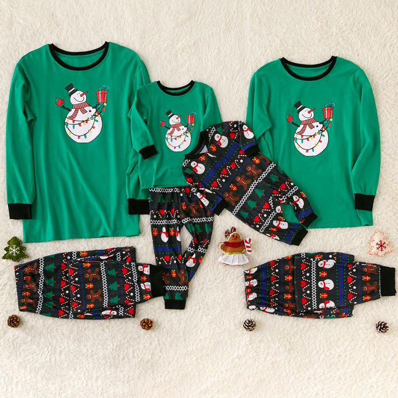 Christmas Family Matching Pajamas  Family Cartoon Snowman Long Sleeve Clothing Sets For Dad Mommy Kids Baby Clothes Outfits