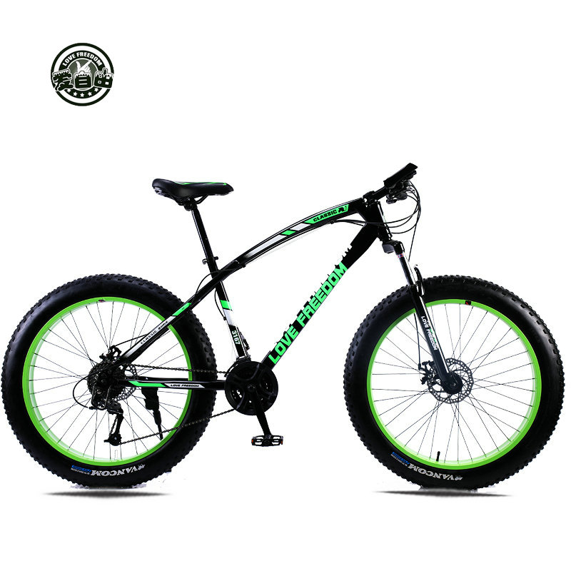 "Bicicleta de montaña Love Freedom 7 velocidades, 21 velocidades .24 velocidades .27 velocidades Fat Bike 26x4.0 ""Off-road gear gear Beach Bike"