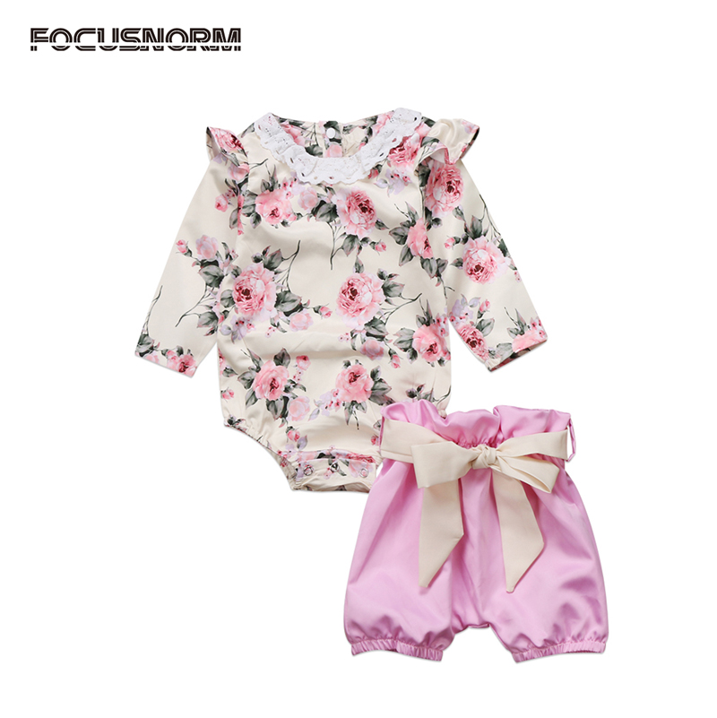 UK Newborn Kid Baby Girls Clothes Floral Long Sleeve Romper Short Pants Outfits Set Clothes