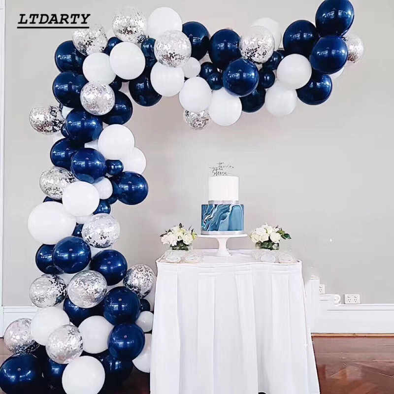 200pcs romantic luminous blue balloon ink blue white latex gold and silver confetti birthday wedding party decoration arch ball