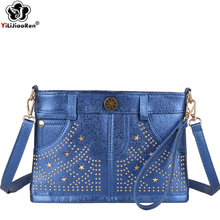 Fashion Rivet Jeans Crossbody Bags for Women Famous Brand Leather Shoulder Bag Female Luxury Designer Messenger Bags Clutch Sac new fashion shoulder bags women famous brand designer messenger bag crossbody women clutch purse genuine leather free shipping