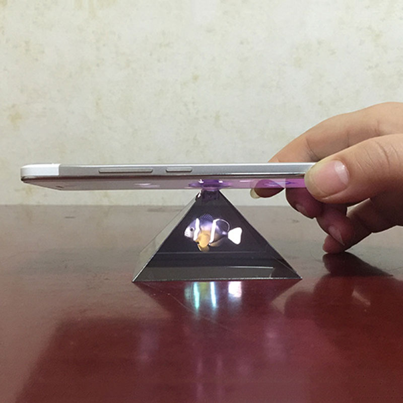 3D Hologram Pyramid Display Projector Video Stand Universal For Smart Mobile Phone 8899
