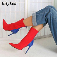 Eilyken 2019 New Autumn Women Boots Stretch Fabric Pointed toe Ankle Boots Thin Heels Sexy Pumps Women Boots shoes Size 35 42