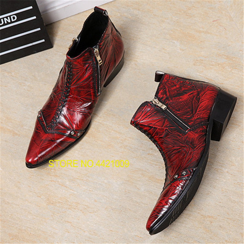 Men Ankle Boots Double Zipper Wine Red Military Cowboy Boot Mens Safety Shoes Pointed Toe Dress Rubber Boots FootwearMen Ankle Boots Double Zipper Wine Red Military Cowboy Boot Mens Safety Shoes Pointed Toe Dress Rubber Boots Footwear