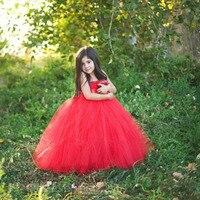 Czerwony druhna dla dzieci flower girl suknia ślubna tiul puszyste suknia urodziny kostium stage tkaniny ręcznie tutu sukienek