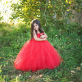 red baby bridesmaid flower girl wedding dress tulle fluffy ball gown birthday costume stage cloth handmade tutu party dresses