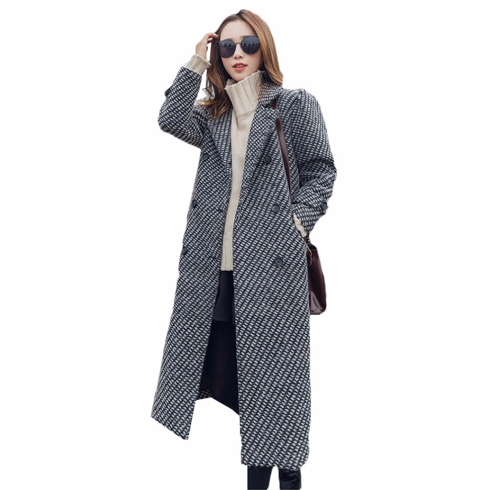 Здесь продается  Houndstooth Woolen Coat Female Long Korean 2017 New Autumn Winter Women Wool Jacket Casual Belt Plaid Cashmere Overcoat Girl Z33  Одежда и аксессуары