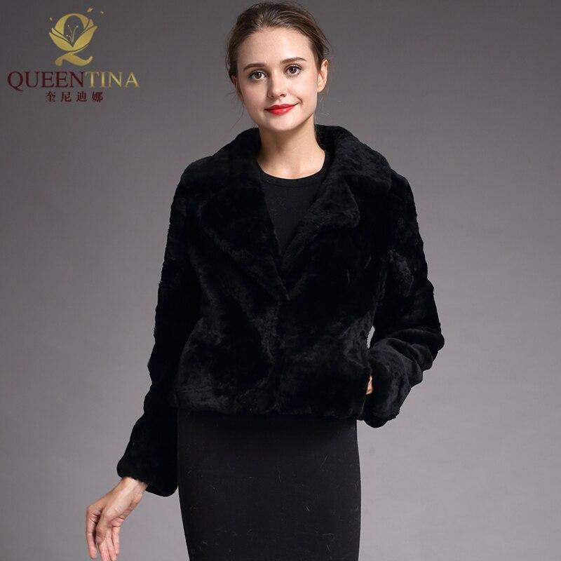 2018 Genuine Sheep Fur Coats for Women Black Winter Warm Real Sheepskin Wool Coat Female Fashion Outwear Sheep Shearing Jacket