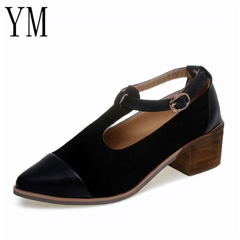 Caliente Patchwork Punta Hebilla Damas Med Venta Talón Mujer Vintage marrón 2 Oxford 2018 35 Recortable Zapatos Negro Estrecha Color 39 6EnBOB