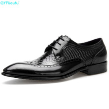 Brand Mens Pointed Toe Dress Shoes Oxfords 100% Genuine Leather Fashion Handmade Designers Formal Italy Business